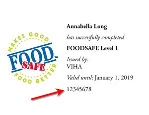 Important - FOODSAFE Level 1 Expiration